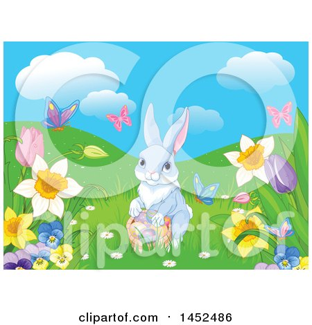 Clipart of a Cute Easter Bunny Rabbit with a Basket of Eggs in a Spring Meadow - Royalty Free Vector Illustration by Pushkin