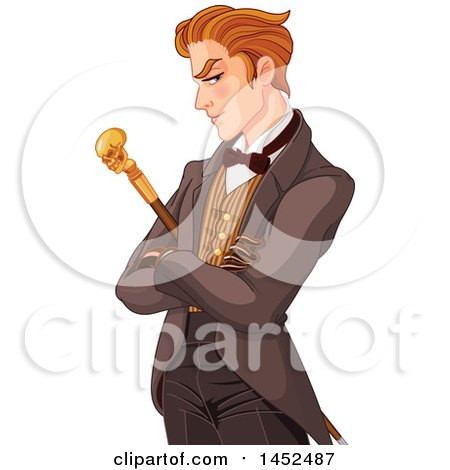 Clipart of a Gentleman with a Skull Cane - Royalty Free Vector Illustration by Pushkin