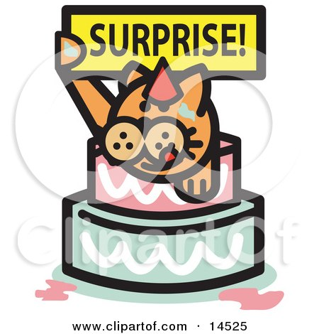 Ginger Cat Holding A Surprise Sign And Popping Out Of A Birthday Cake  Posters, Art Prints