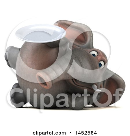 Clipart Graphic of a 3d Elephant Character Holding a Plate, on a White Background - Royalty Free Illustration by Julos