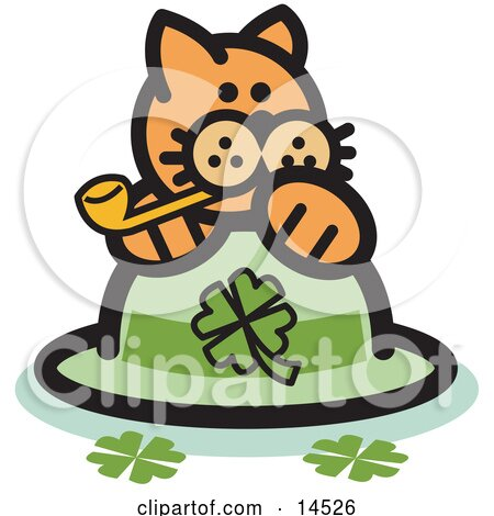 Orange Cat On A Clover St Patrick's Day Hat, Smoking A Pipe Clipart Illustration by Andy Nortnik