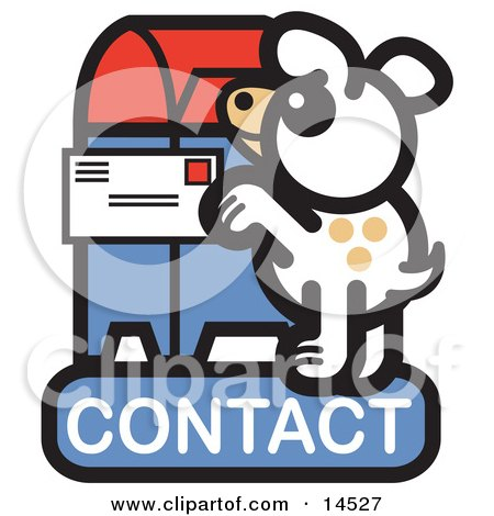 Dog Standing On His Hind Legs To Mail A Letter On A Contact Internet Web Icon Clipart Illustration by Andy Nortnik