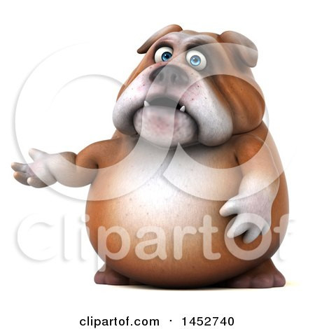 Clipart of a 3d Bill Bulldog Mascot Presenting, on a White Background - Royalty Free Illustration by Julos