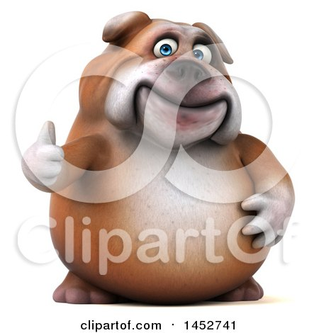 Clipart of a 3d Bill Bulldog Mascot Giving a Thumb Up, on a White Background - Royalty Free Illustration by Julos