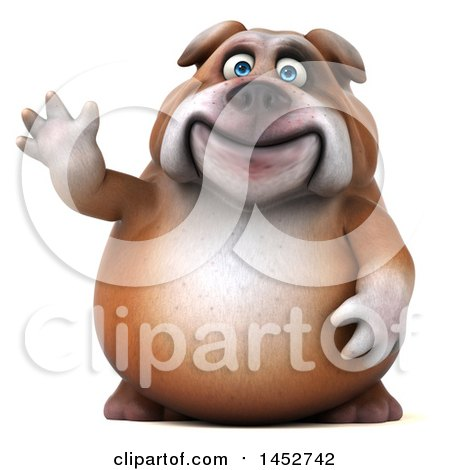Clipart of a 3d Bill Bulldog Mascot Waving, on a White Background - Royalty Free Illustration by Julos