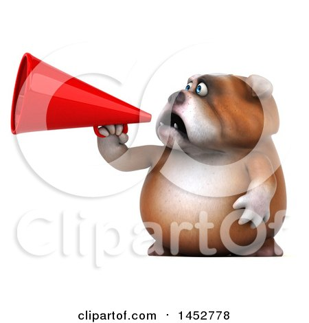 Clipart of a 3d Bill Bulldog Mascot Usinga Megaphone, on a White Background - Royalty Free Illustration by Julos