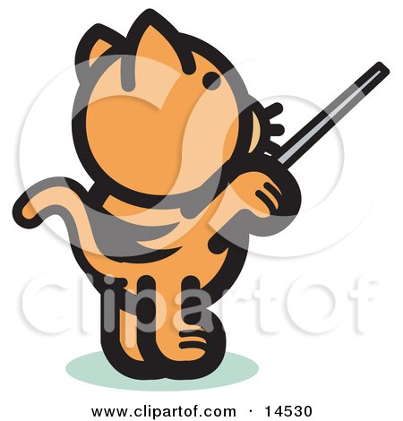 Orange Cat Standing On His Hind Legs And Using A Pointer Stick To Point Something Out Or Using A Wand To Conduct An Orchestra Clipart Illustration by Andy Nortnik