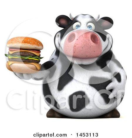 Clipart Graphic of a 3d Holstein Cow Character Holding a Burger, on a White Background - Royalty Free Illustration by Julos
