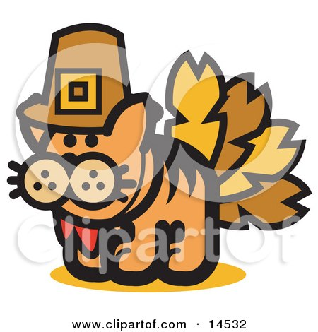 Ginger Cat Disguised as a Thanksgiving Turkey Clipart Illustration by Andy Nortnik