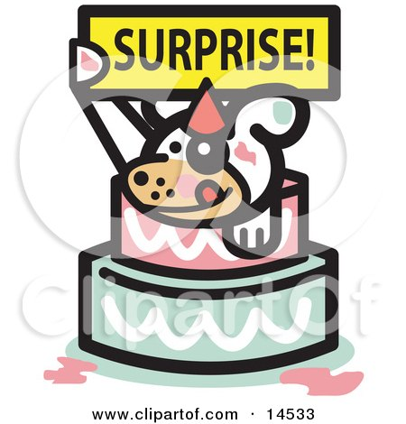 Cute Dog Holding A Surprise Sign And Popping Out Of A Birthday Cake  Posters, Art Prints