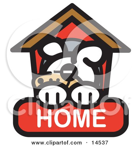 Tired Dog Napping In His Dog House On A Home Internet Web Icon Clipart Illustration by Andy Nortnik