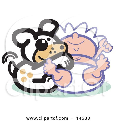 Cute Dog Tickling a Baby's Belly Clipart Illustration by Andy Nortnik