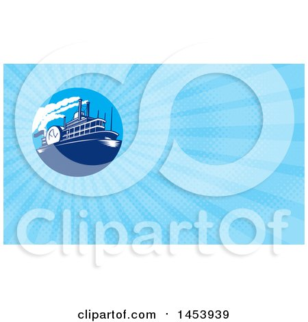 Clipart of a Steamboat in a Circle and Blue Rays Background or Business Card Design - Royalty Free Illustration by patrimonio