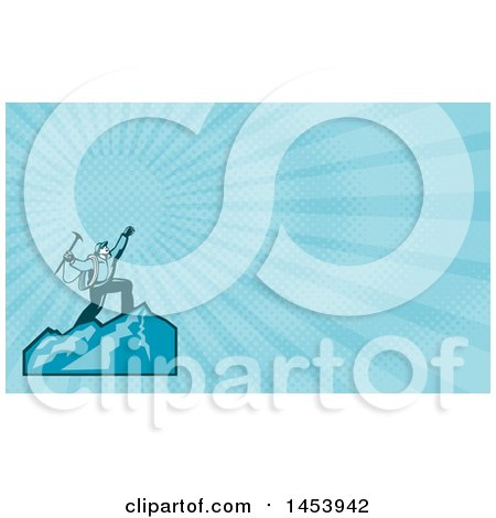 Clipart of a Mountain Climber Cheering on Top of a Mountain and Blue Rays Background or Business Card Design - Royalty Free Illustration by patrimonio