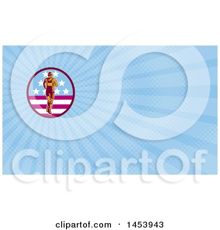Clipart of a Retro Woodcut Male Marathon Runner in an American Oval and Blue Rays Background or Business Card Design - Royalty Free Illustration by patrimonio