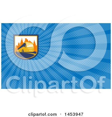 Clipart of a Coach City Bus in a Shield with Skyscrapers and Blue Rays Background or Business Card Design - Royalty Free Illustration by patrimonio
