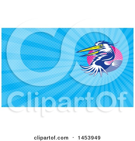 Clipart of a Great Blue Heron Bird and Blue Rays Background or Business Card Design - Royalty Free Illustration by patrimonio