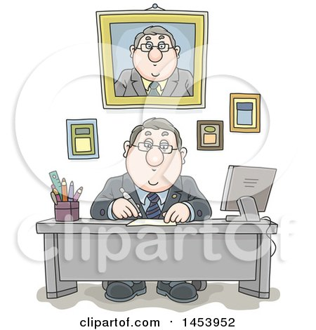 Clipart of a Cartoon White Businessman Working at His Desk, with His Portrait and Certificates on the Wall Behind Him - Royalty Free Vector Illustration by Alex Bannykh