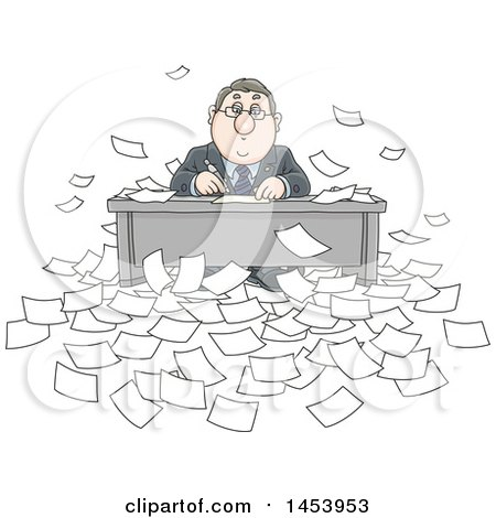 Clipart of a Cartoon Overwhelmed White Business Man Working at His Desk, Surrounded by Paperwork - Royalty Free Vector Illustration by Alex Bannykh