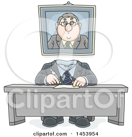 Clipart of a Cartoon Headless White Business Man Working at His Desk, with His Portrait on the Wall Behind Him - Royalty Free Vector Illustration by Alex Bannykh