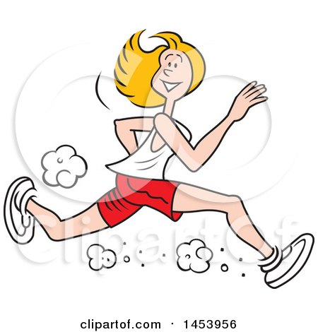 Clipart of a Cartoon Lanky Caucasian Female Jogger Running - Royalty Free Vector Illustration by Johnny Sajem