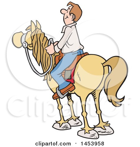 Clipart of a Cartoon Horseback Caucasian Man Surveying the Land - Royalty Free Vector Illustration by Johnny Sajem