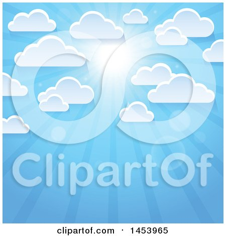 Clipart of a Background of White Clouds in a Blue Sky with a Shining Sun - Royalty Free Vector Illustration by visekart