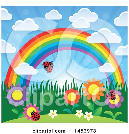 Clipart of a Colorful Rainbow Arch with a Sunny Sky, Flowers and Ladybugs - Royalty Free Vector Illustration by visekart