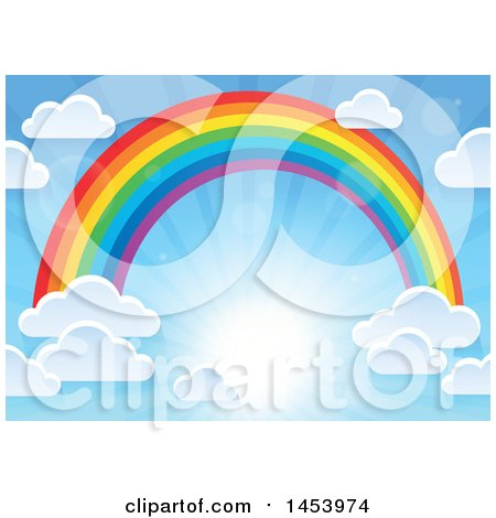 Clipart of a Colorful Rainbow Arch with Puffy Clouds in a Sunny Sky - Royalty Free Vector Illustration by visekart