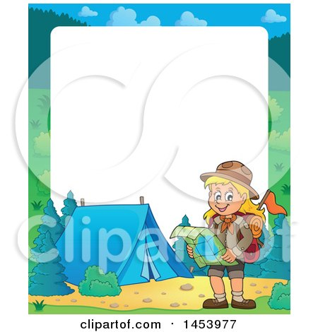 Clipart of a Border of a Hiking Scout Girl Reading a Map by a Campfire - Royalty Free Vector Illustration by visekart