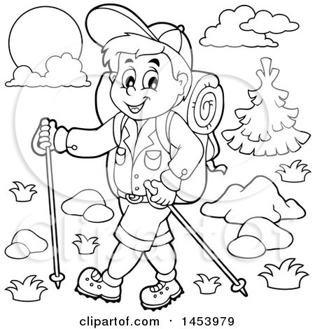 Clipart Of A Black And White Lineart Happy Boy Hiking With Poles