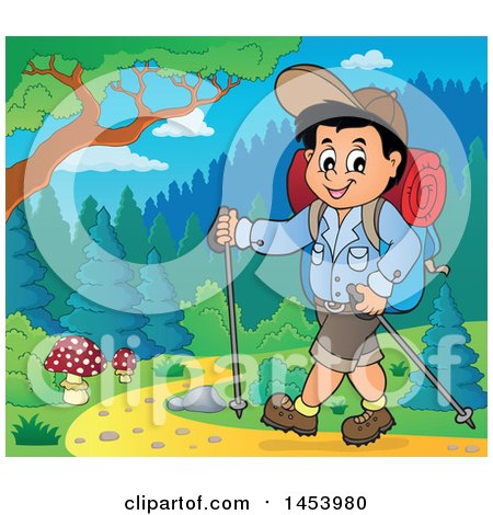 Clipart of a Happy Boy Hiking with Poles - Royalty Free Vector Illustration by visekart