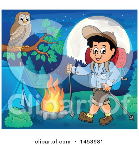 Clipart of a Happy Boy Hiking to a Camp Site with Poles - Royalty Free Vector Illustration by visekart