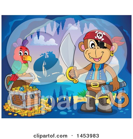 Clipart of a Monkey Pirate Holding a Sword and Telescope by a Parrot on a Treasure Chest in a Cave - Royalty Free Vector Illustration by visekart