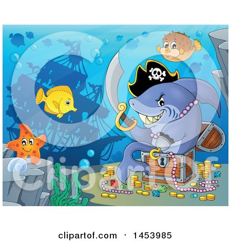 Clipart of a Pirate Shark Holding a Sword and Sitting in a Treasure Chest Underwater - Royalty Free Vector Illustration by visekart