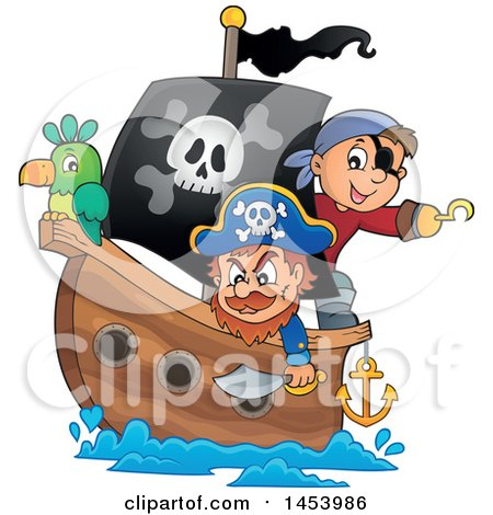 Clipart of a Pirate and Captain with a Parrot on a Ship - Royalty Free Vector Illustration by visekart