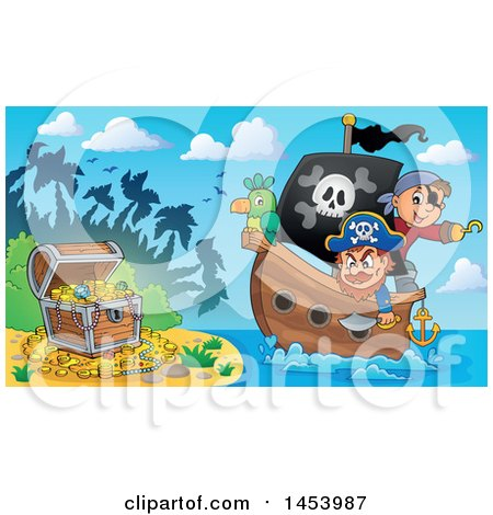 Clipart of a Pirate and Captain with a Parrot on a Ship Approaching Treasure on an Island - Royalty Free Vector Illustration by visekart