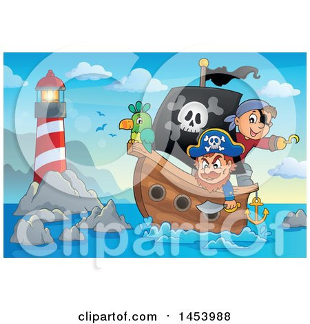 Clipart of a Pirate and Captain with a Parrot on a Ship near a Lighthouse - Royalty Free Vector Illustration by visekart