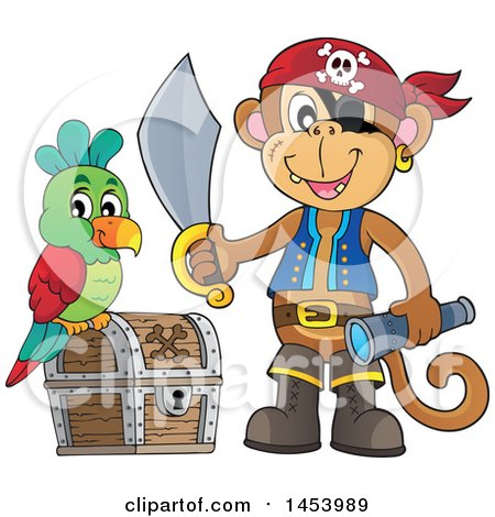 Clipart of a Monkey Pirate Holding a Sword and Telescope by a Parrot on a Treasure Chest - Royalty Free Vector Illustration by visekart