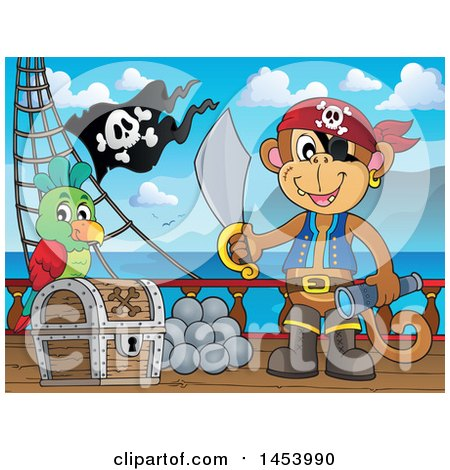 Clipart of a Monkey Pirate Holding a Sword and Telescope by a Parrot on a Treasure Chest on Deck - Royalty Free Vector Illustration by visekart