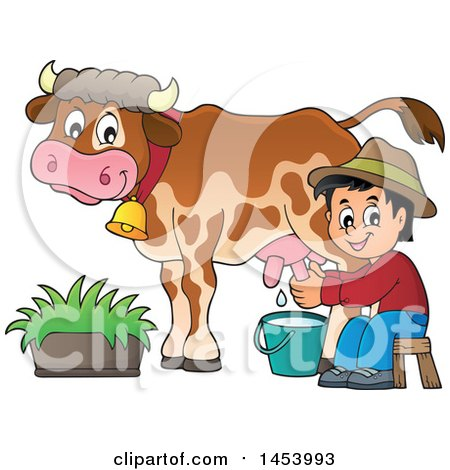 Clipart Of A Happy Farmer Boy Milking A Cow Royalty Free Vector Illustration
