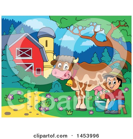 Clipart of a Happy Farmer Boy Milking a Cow in a Barnyard - Royalty Free Vector Illustration by visekart
