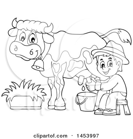 Clipart Of A Black And White Lineart Happy Farmer Boy Milking A Cow