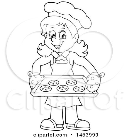 Clipart of a Black and White Lineart Happy Woman Baking Chocolate Chip Cookies - Royalty Free Vector Illustration by visekart