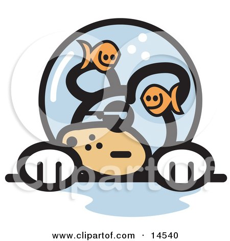 Grumpy Dog With Fish Making Fun of Him in a Fishbowl Stuck on His Head Clipart Illustration by Andy Nortnik