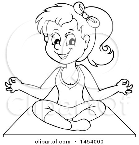 Clipart of a Black and White Lineart Yoga Woman in a Lotus Pose - Royalty Free Vector Illustration by visekart