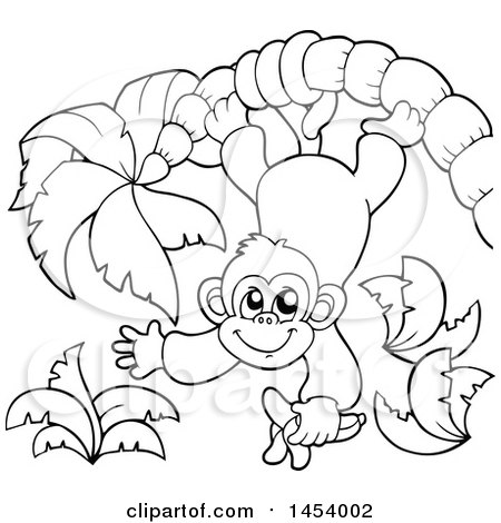 Clipart of a Black and White Lineart Happy Monkey Hanging from a Palm Tree and Holding a Banana - Royalty Free Vector Illustration by visekart