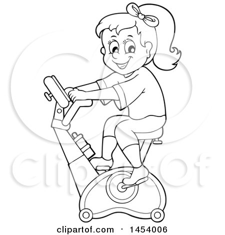 Clipart of a Black and White Lineart Girl Riding an Upright Spin Bike at the Gym - Royalty Free Vector Illustration by visekart