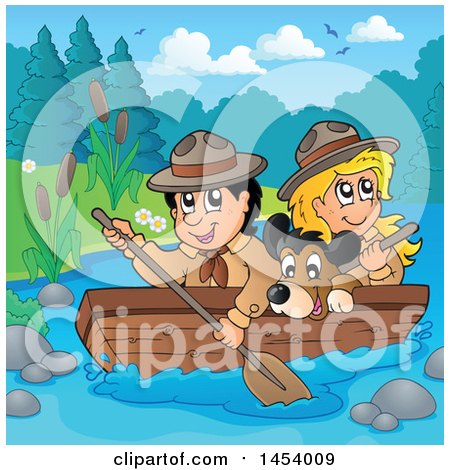 Clipart of a Happy Scout Boy Rowing a Boat with a Girl and Dog on Boad - Royalty Free Vector Illustration by visekart