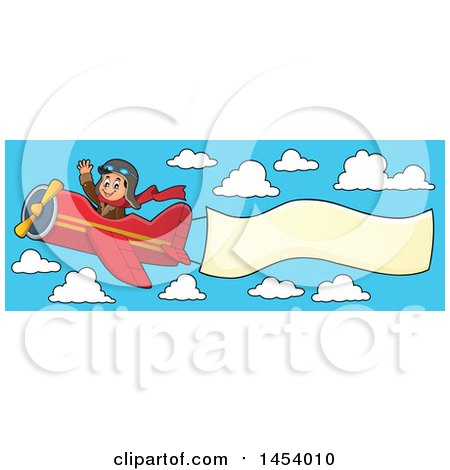 Clipart of a Happy Caucasian Male Aviator Waving and Flying a ...